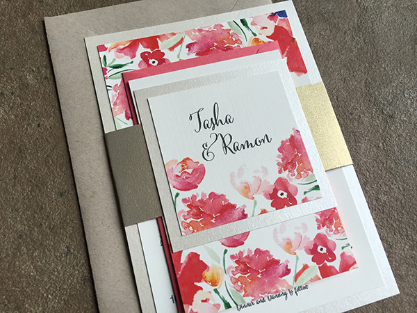 pink floral and gold wedding invitations