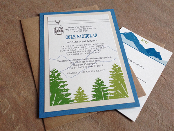 Blue and green mountains, trees and gondola invitations