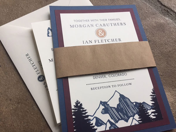 Navy blue and burgundy mountain wedding invitations