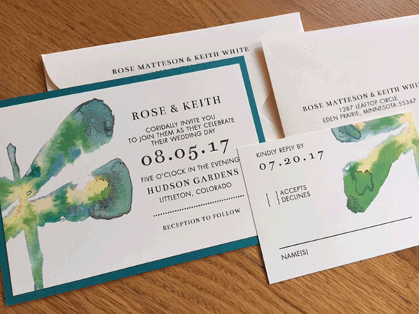 Blue and green watercolor dragonfly invitations
