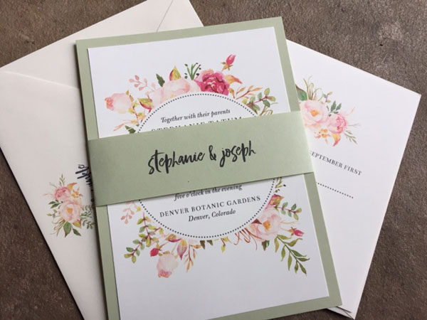Pastel floral and sage green wedding invitations