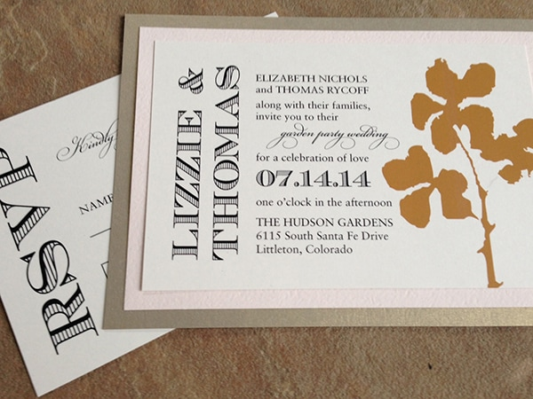 Pink and gold orchid silhouette invitations