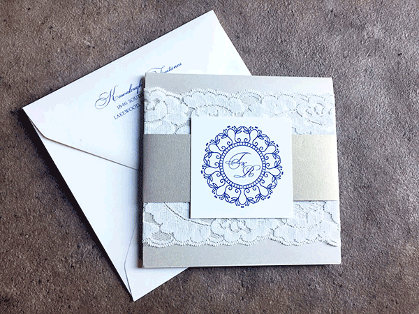 Pocket invitation set with lace and gold shimmer accents