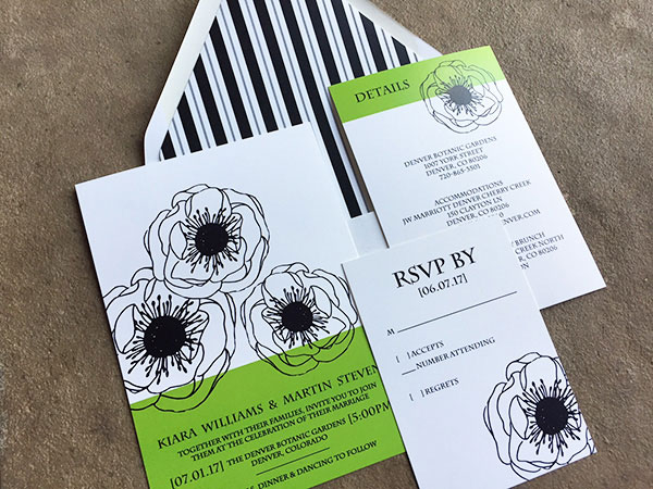 Bright green wedding invitations with black and white poppies
