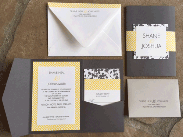 Gray and yellow invitations with mixed floral and mod pattern