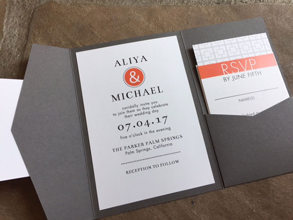 Orange and gray Parker Palm Springs Wedding Invitation