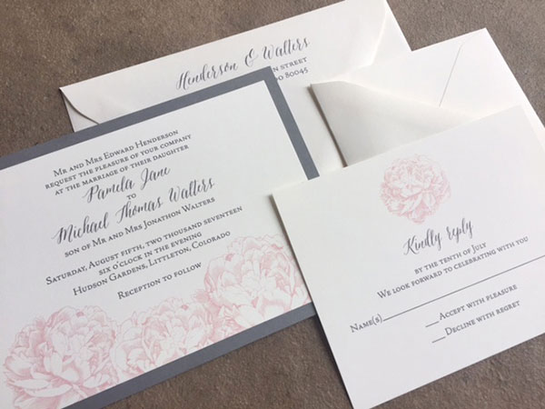 Pink and gray peonies wedding invitations