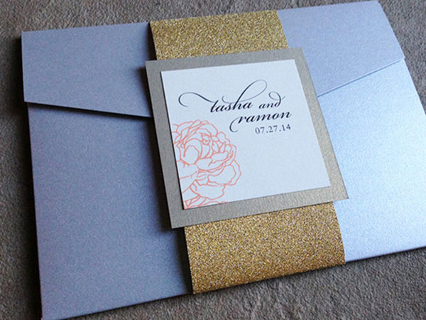 Silver and Gold pocket wedding invitation