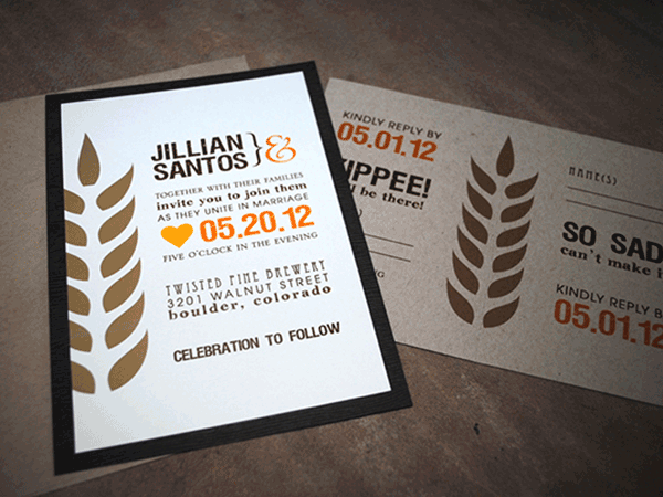 Brown, orange and gold wedding invitations with modern wheat graphic