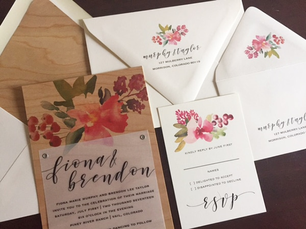wood and floral wedding invitation set